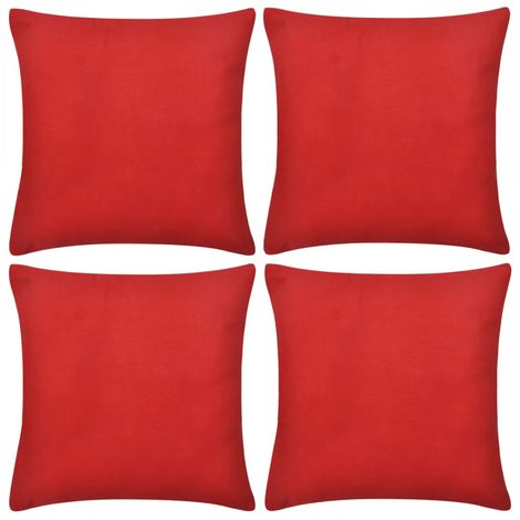 4 Red Cushion Covers Cotton 40 x 40 cm VD00553