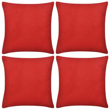 4 Red Cushion Covers Cotton 40 x 40 cm VDTD00553