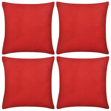 4 Red Cushion Covers Cotton 80 x 80 cm - Red