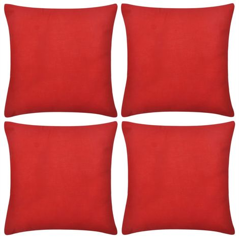 4 Red Cushion Covers Cotton 80 x 80 cm VD00555