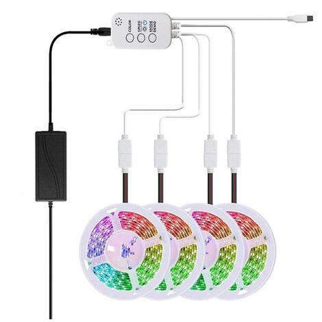 4 rollos de barra de luz de 20 metros de la lampara de sincronizacion de musica Bluetooth inteligente APP con las regulaciones de la UE
