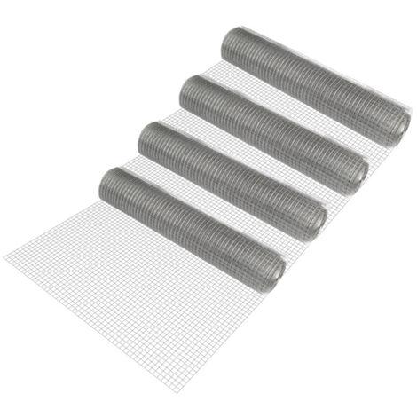 4 rollos de malla de alambre (cuadrados)(1m x 25m)(galvanizado) valla de tela metálica gris