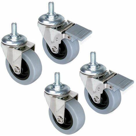 4 Roulettes avec boulon M8, diamètre 50mm, acier et plastique gris