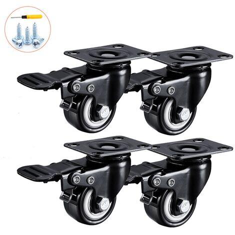 4 Roulettes Pivotantes 50mm | 200KG Roulettes Pivotantes Avec Frein | Roulettes pour Meubles Charge Lourde pour Transport Chariot Table Basse Etabli
