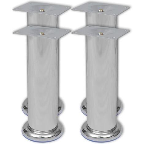 4 Round Sofa Legs Chrome 180 mm - Silver