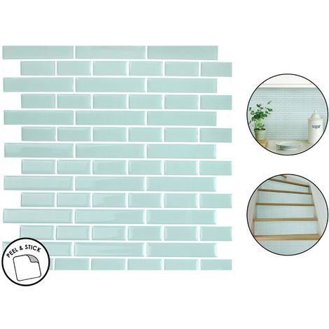 4 Sea Glass Backsplash Tiles Peel & Stick 4pcs Teal Blue Home Wall Stickers