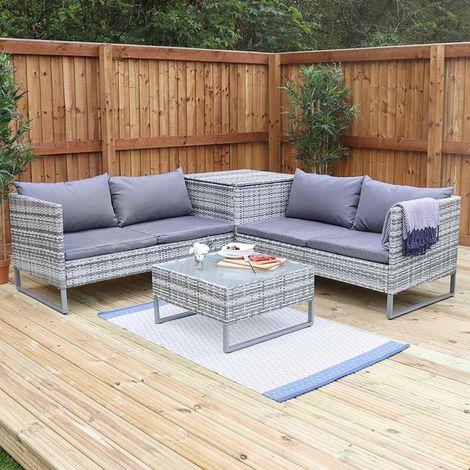 4 Seat Grey Rattan Corner Sofa with Storage and Coffee Table