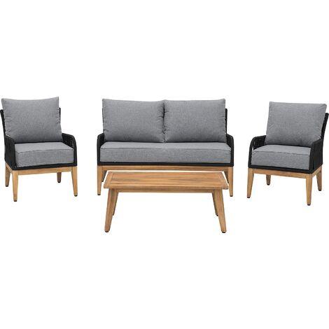 4 Seater Acacia Wood Garden Sofa Set Grey MERANO