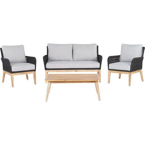 4 Seater Acacia Wood Garden Sofa Set Grey MERANO II