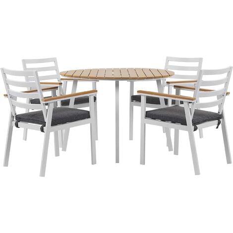 4 Seater Aluminium Garden Dining Set with Grey Cushions White CAVOLI
