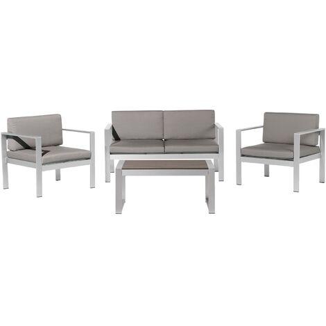 4 Seater Aluminium Garden Sofa Set Dark Grey SALERNO