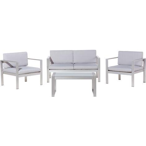4 Seater Aluminium Garden Sofa Set Grey SALERNO