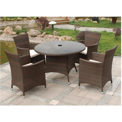 4 Seater Cannes Mocha Brown Dining Set