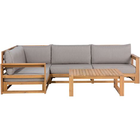4 Seater Certified Acacia Wood Garden Corner Sofa Set Grey TIMOR
