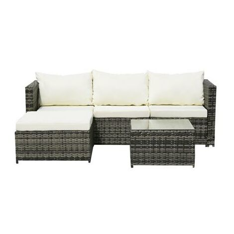 4-Seater Chaise Corner Sofa Gray Gradient Rattan Beige Cushion Rattan Three-Piece Set