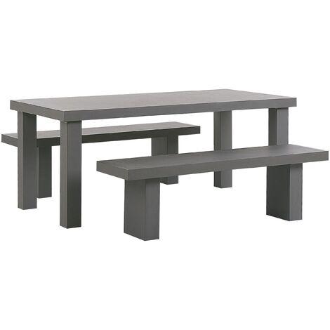 4 Seater Concrete Garden Dining Set Benches Grey TARANTO
