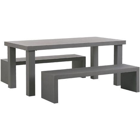 4 Seater Concrete Garden Dining Set U Shaped Benches Grey TARANTO