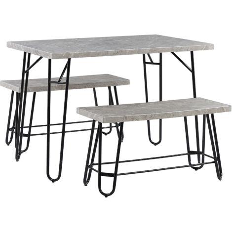 4 Seater Dining Set Grey and Black KEMPTON