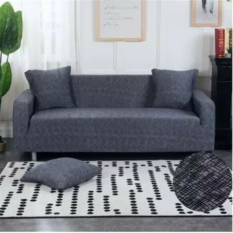 4-seater Elastic sofa cover stretch armchair protective chair slipcover 235-300cm darkgrey