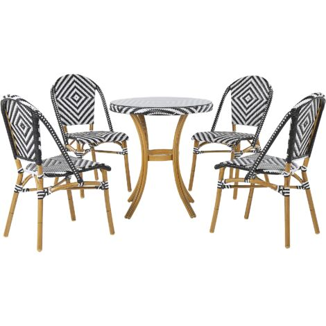 4 Seater Garden Dining Set Black and White Pattern RIFREDDO