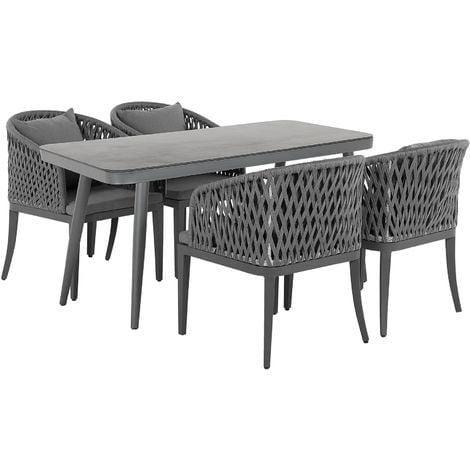 4 Seater Garden Dining Set Grey LIPARI