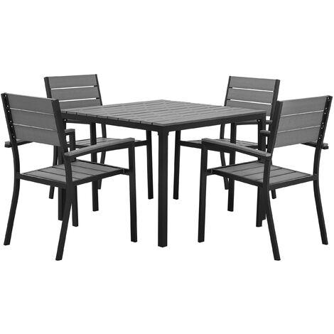 4 Seater Garden Dining Set Grey PRATO