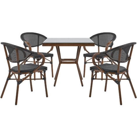 4 Seater Garden Dining Set Square Table and Chairs Aluminium Frame Black Caspri