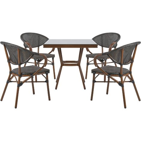 4 Seater Garden Dining Set Square Table and Chairs Aluminium Frame Grey Caspri