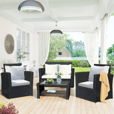 4 Seater Garden Rattan Furniture Sofa Outdoor Patio Rattan Garden Furniture Set with Fitting Furniture Cover Black
