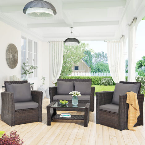 4 Seater Garden Rattan Furniture Sofa Outdoor Patio Rattan Garden Furniture Set with Fitting Furniture Cover Brwon