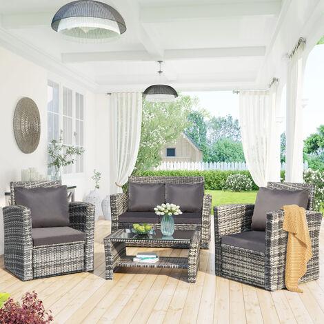4 Seater Garden Rattan Furniture Sofa Outdoor Patio Rattan Garden Furniture Set with Fitting Furniture Cover Grey