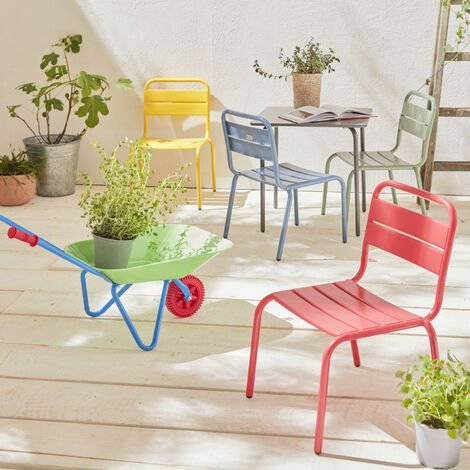 4-seater Kids Table Set - Anna - Multicolore, table and chairs, 48x48cm