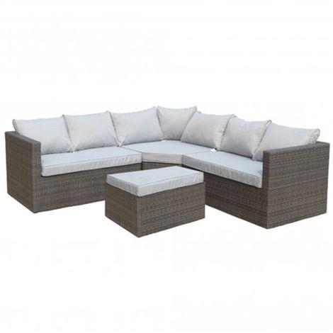 4 Seater Marlow Corner Lounge Set Set Alum. - 1 Lh Bench, 1 Rh Bench, 1 Corner Seat, 1 Ottoman Incl. Cushion