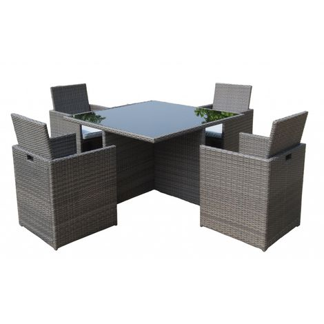 4 Seater Marlow Cube Set - 110cm Cube Table With Black Glass & 4 Cube Chairs Kd Incl. Seat Cushion