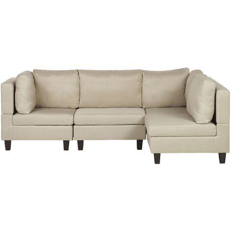 4 Seater Modular Fabric Corner Sofa Beige FEVIK