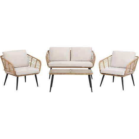 4 Seater Rattan Garden Sofa Set Beige CORINTH