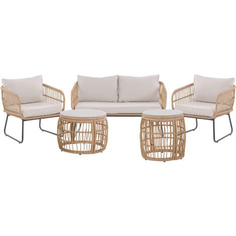 4 Seater Rattan Garden Sofa Set Beige RAVELLO
