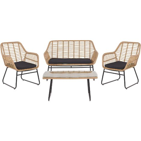 4 Seater Rattan Garden Sofa Set Black MINORI