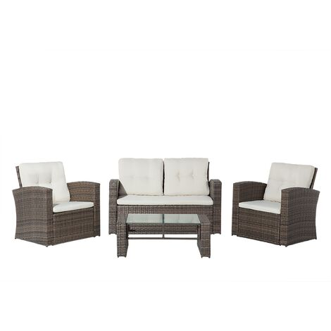 4 Seater Rattan Garden Sofa Set Brown LUCA