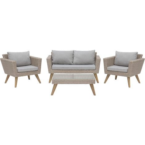 4 Seater Rattan Garden Sofa Set Brown VITTORIA