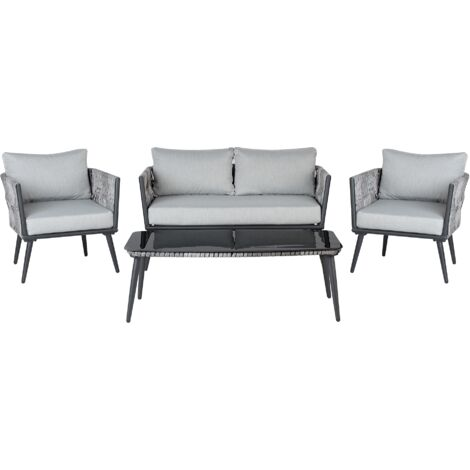 4 Seater Rattan Garden Sofa Set Grey PREVEZA