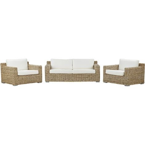 4 Seater Rattan Garden Sofa Set Light Brown ARDEA