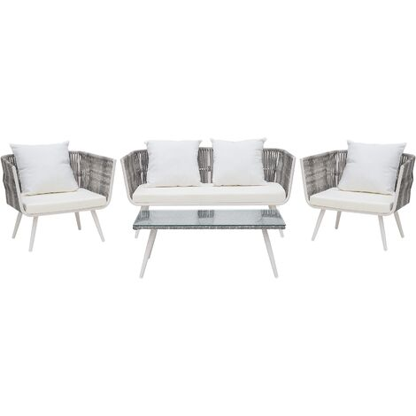 4 Seater Rattan Garden Sofa Set Off-White RAGUSA