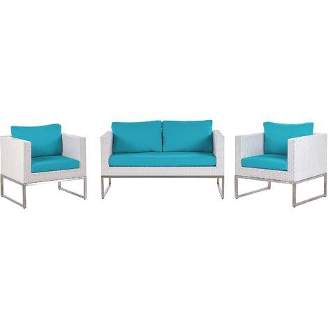 4 Seater Rattan Garden Sofa Set Turquoise CREMA
