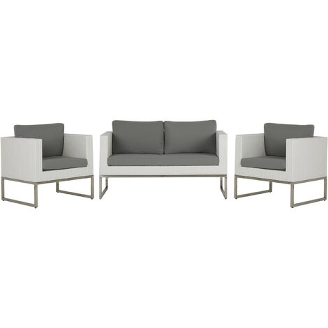 4 Seater Rattan Garden Sofa Set White and Grey CREMA
