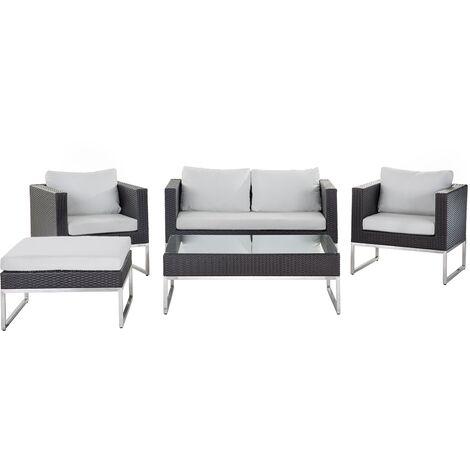 4 Seater Rattan Garden Sofa Set White CREMA