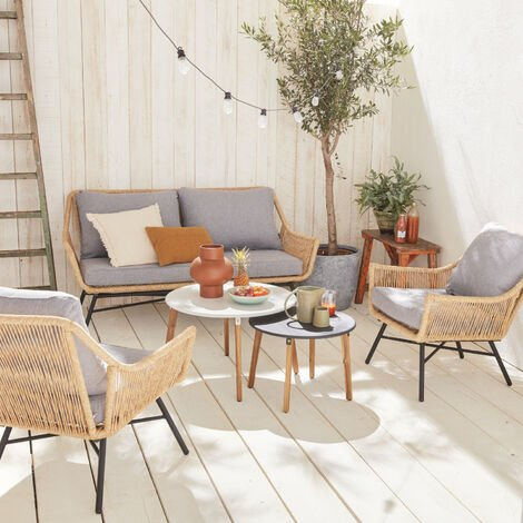 4-seater rattan garden sofa set with 2 nesting tables – KUTA – 2-seater sofa and 2 armchairs set, beige cushions