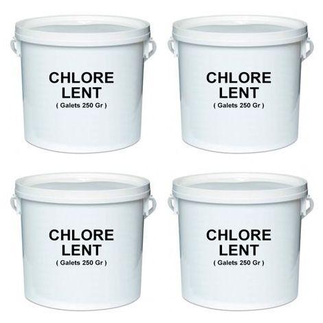 4 seaux de 5 Kg de chlore lent en galet de 250 gr