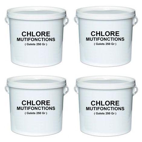 4 seaux de 5 Kg de chlore multifonctions en galet de 250 gr - -