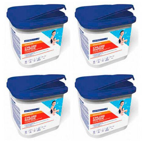 4 seaux de chlore choc en granulé de 5 kg